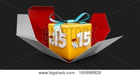 3D Illustration Red Discount 15 Percent Off And In The Gray Box On Black Background.