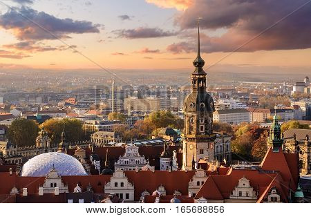 Panorama of the Dresden city skyline at sunset in Saxony Germany Europe.