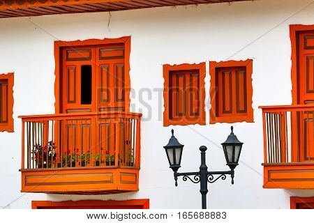 Colourful colonial style architectural details in Salento Colombia