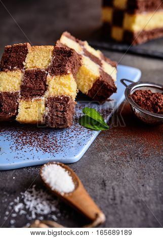 Chessboard Cake With Coconut Filing