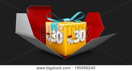 3D Illustration Red Discount 30 Percent Off And In The Gray Box On Black Background.