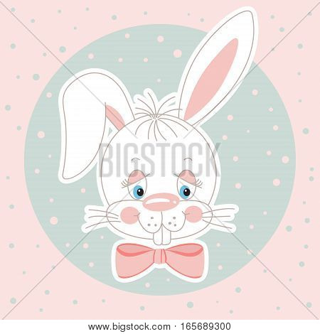Scalable vectorial image representing a cute bunny face background, isolated on white.