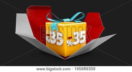 3D Illustration Red Discount 35 Percent Off And In The Gray Box On Black Background.