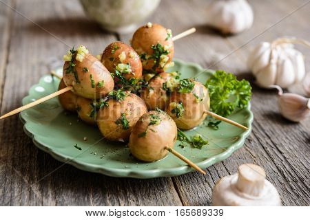 Grilled Mushroom Skewers With Garlic And Parsley