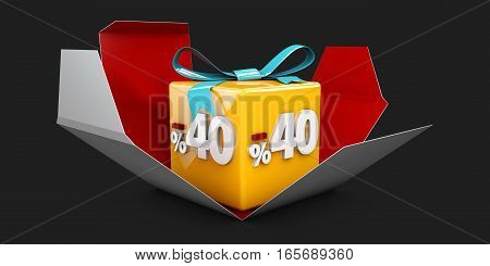 3D Illustration Red Discount 40 Percent Off And In The Gray Box On Black Background.