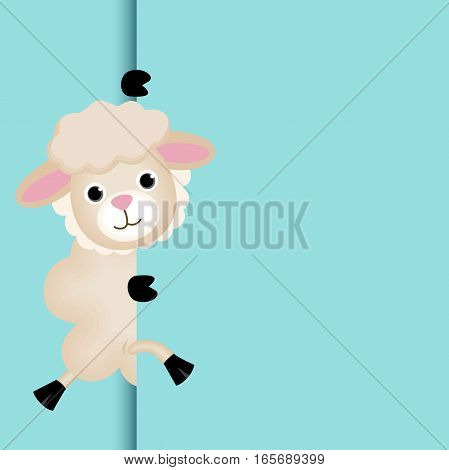 Scalable vectorial image representing a cute sheep peeking out.