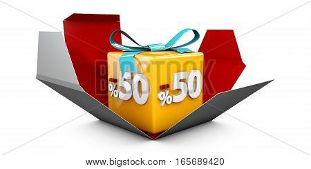 3D Illustration Red Discount 50 Percent Off And In The Gray Box.