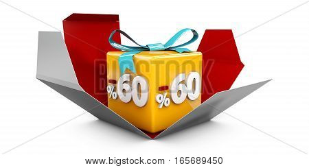 3D Illustration Red Discount 60 Percent Off And In The Gray Box.