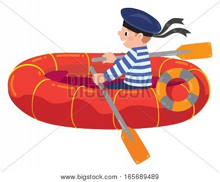Happy jolly boy sailor in boat or lifeboat in vest and sailor hat. Children vector illustration.