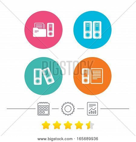 Accounting icons. Document storage in folders sign symbols. Calendar, cogwheel and report linear icons. Star vote ranking. Vector