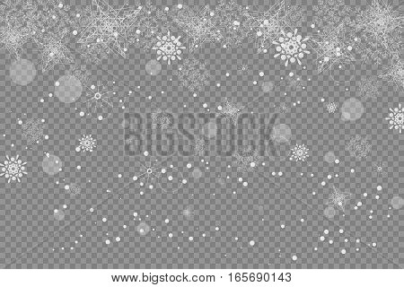 Vector blank of transparent snowfall with snowflakes and radiance.