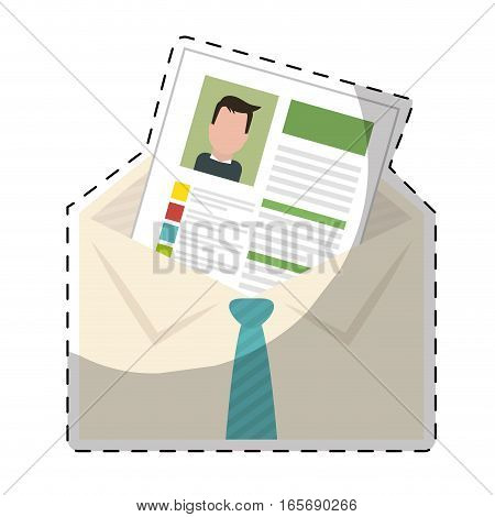 envelope with curriculum vitae page over white background. human resources design. vector illustration