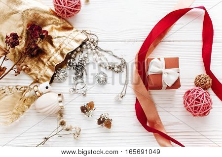 Happy Valentine Day Card Concept. Stylish Red Present And Luxury Jewelry  Accessories On White Rusti