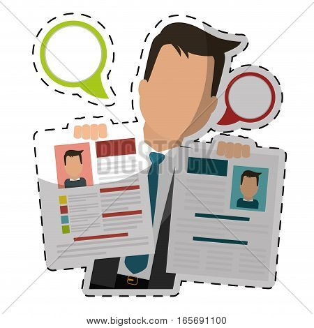 businessman with curriculum vitae page over white background. colorful design. vector illustration
