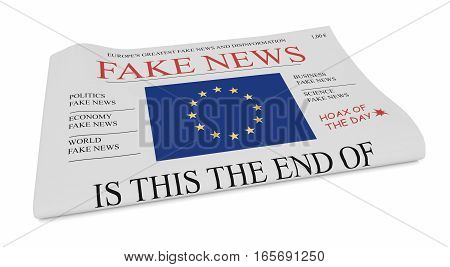 Fake News European Union Concept: Newspaper Front Page With EU Flag 3d illustration on white background