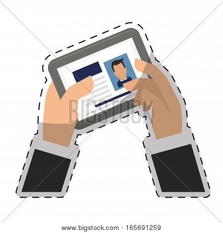 hand holding a tablet with curriculum vitae profile on screen over white background. human resources design. vector illustration