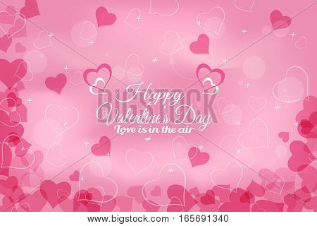 Vector Happy Valentine's Day wide background with light pink pattern from dark pink hearts radiance and stars.