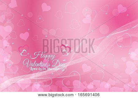 Vector Happy Valentine's Day wide background with light pink pattern from hearts radiance and waves.