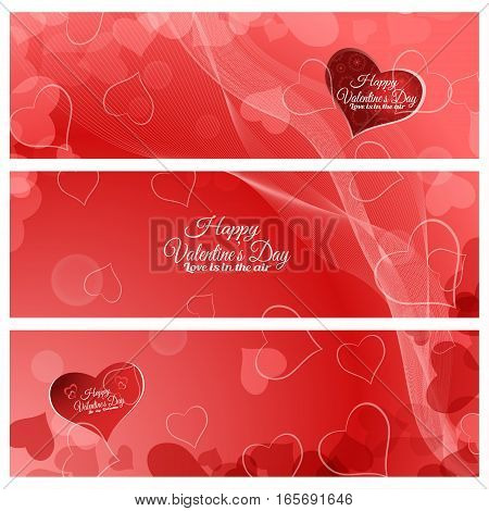 Vector set of greeting bookmarks for Valentine's Day on the abstract red background with hearts radiance waves.