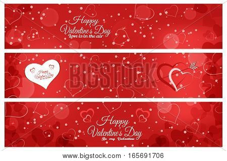 Vector set of greeting bookmarks for Valentine's Day on the abstract red background with hearts radiance snow stars.