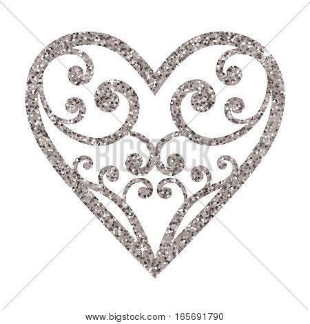 Ornamental glitter Valentines Day heart on a white background. Vector illustration. Beautiful design element for t-shirt design save the date wedding invitations.
