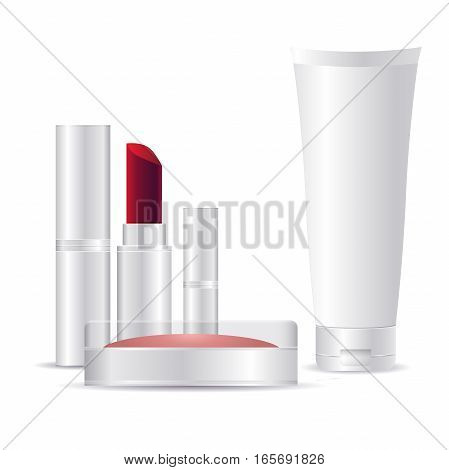 cosmetic plastic containers for makeup, isolated on white background