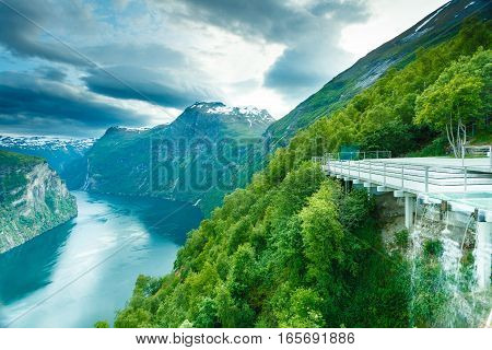 View On Geirangerfjord From Flydasjuvet Viewpoint Norway