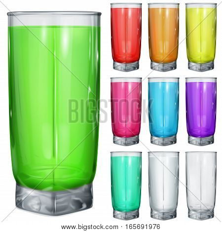 Set Of Opaque Glasses With Multicolored Drinks