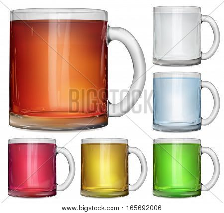Set Of Opaque Glass Cups With Multicolored Drinks
