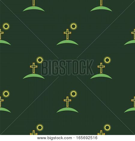 Religion Icons Isolated on Green Background. Seamless Pattern