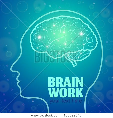 Human Brain Logo, Neurology Anatomical Conception.Cerebrum and Cerebellum, Medical Logo Brain Work in human head logo silhouette on blue luminous background w shining dots.Mind thoughts shines Synapses