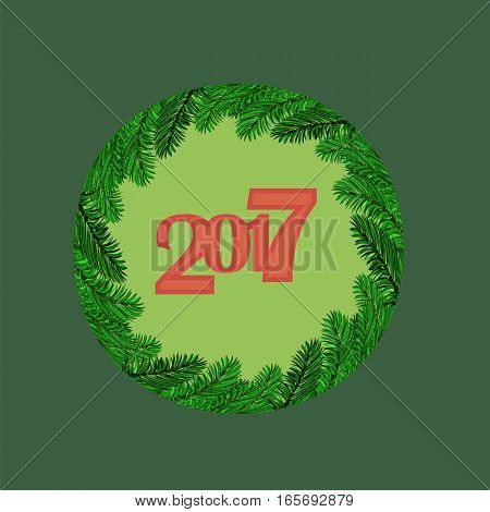 Christmas Round Banner with Fir Branches. 2017 New Year Poster on Green Background