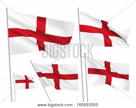 England vector flags. A set of 5 wavy 3D flags created using gradient meshes. EPS 8 vector