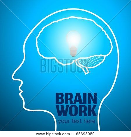 Human Brain Logo, Neurology Anatomical Conception.Cerebrum and Cerebellum w Medical Logo Brain Work.Mind Thoughts shines like thought bulb in human head logo silhouette on blue luminous background