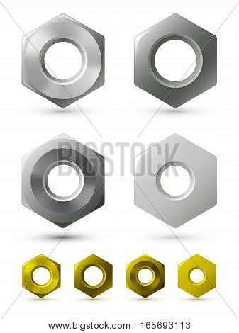 Vector metallic nuts. A set of vector metallic nuts of four different types