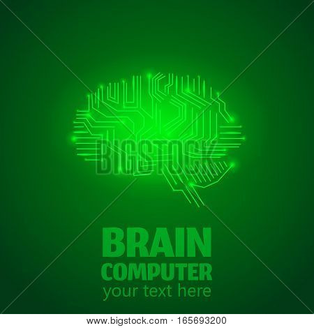 Human Brain Logo in form of Electronic brain computer, Neurology Conception.Silicon chips in form of Cerebrum and Cerebellum with mind thoughts shines, text Brain Computer on green luminous background