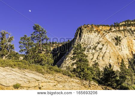 Moon over Bryce Canyon National Park in Utah