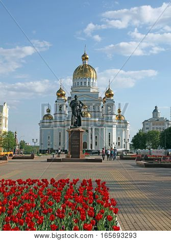 View at the cathedral of St Warrior Admiral Feodor Ushakov and his statue in Saransk, Mordovia. Russian Federation