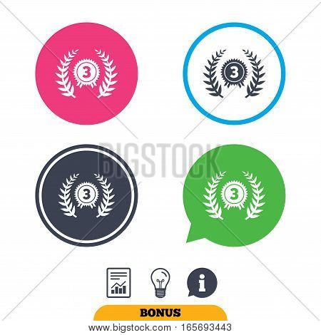 Third place award sign icon. Prize for winner symbol. Laurel Wreath. Report document, information sign and light bulb icons. Vector