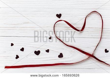 Valentine Concept. Stylish Ribbon Heart On White Wooden Background. Happy Valentines Day. Greeting C