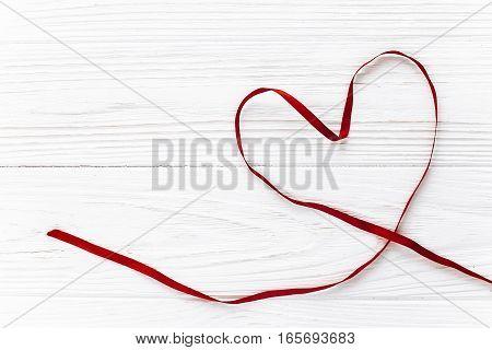 Valentine Concept. Stylish Ribbon Heart Flat Lay On White Wooden Background. Happy Valentines Day. G