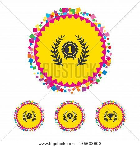 Web buttons with confetti pieces. Laurel wreath award icons. Prize cup for winner signs. First, second and third place medals symbols. Bright stylish design. Vector