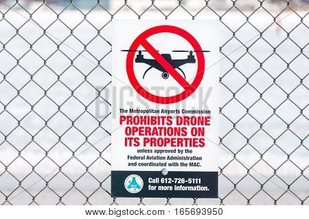 Sign Prohibiting Drone Traffic At Airport
