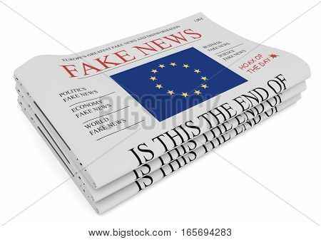 Fake News European Union Concept: Pile of Newspapers With EU Flag 3d illustration on white background