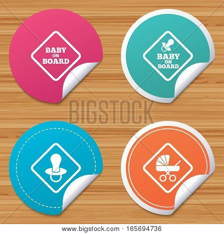 Round stickers or website banners. Baby on board icons. Infant caution signs. Child buggy carriage symbol. Circle badges with bended corner. Vector