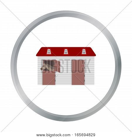 Horse stable icon in cartoon design isolated on white background. Hippodrome and horse symbol stock vector illustration.