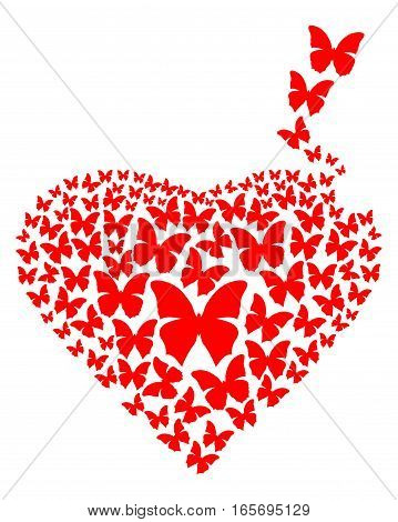 Red heart made of butterflies isolated on white background. Heart consisting of red flying butterflies. Design element for romantic cards. Vector illustration