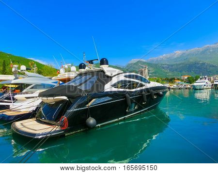 Dock for boats and yachts Budva in a beautiful summer day at Montenegro