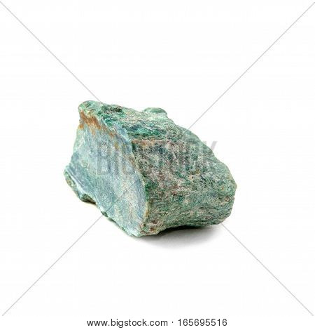 Mineral stone Fuchsite or Muscovite from Brazil isolated on white.