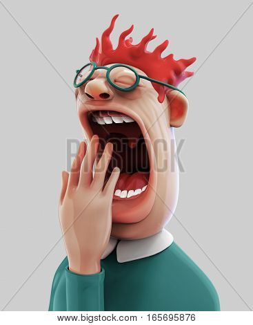 Tired man with wide open mouth yawning eyes closed 3D illustration isolated
